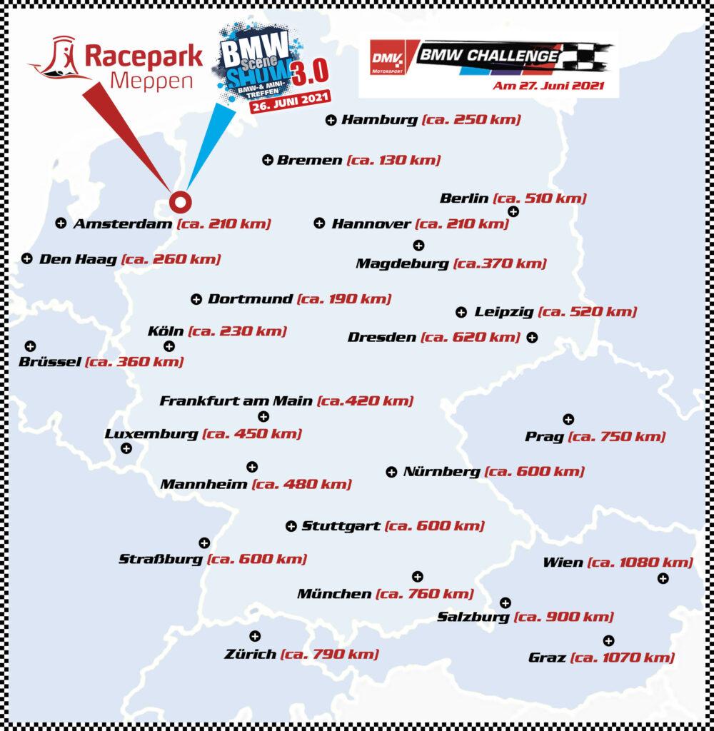 Entfernung zum Racepark Meppen